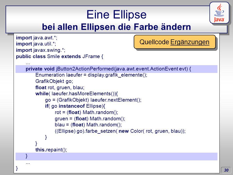 30 Dörschlag IKG; Dörschlag, Plümer, Gröger; Einführung in die Programmierung mit Java WS03/04 Eine Ellipse bei allen Ellipsen die Farbe ändern import java.awt.*; import java.util.*; import javax.swing.*; public class Smile extends JFrame {...