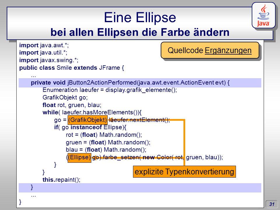 31 Dörschlag IKG; Dörschlag, Plümer, Gröger; Einführung in die Programmierung mit Java WS03/04 Eine Ellipse bei allen Ellipsen die Farbe ändern import java.awt.*; import java.util.*; import javax.swing.*; public class Smile extends JFrame {...