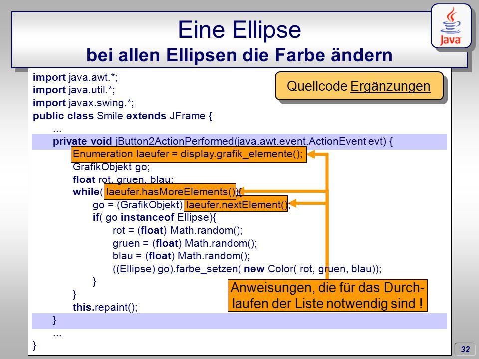 32 Dörschlag IKG; Dörschlag, Plümer, Gröger; Einführung in die Programmierung mit Java WS03/04 Eine Ellipse bei allen Ellipsen die Farbe ändern import java.awt.*; import java.util.*; import javax.swing.*; public class Smile extends JFrame {...