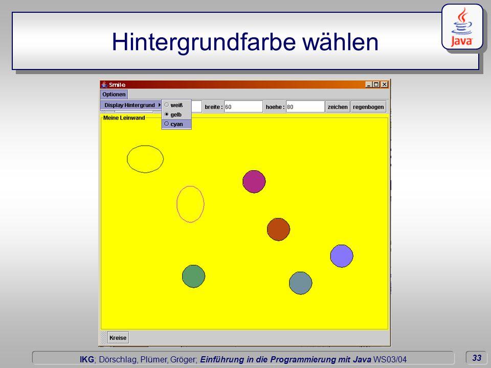 33 Dörschlag IKG; Dörschlag, Plümer, Gröger; Einführung in die Programmierung mit Java WS03/04 Hintergrundfarbe wählen