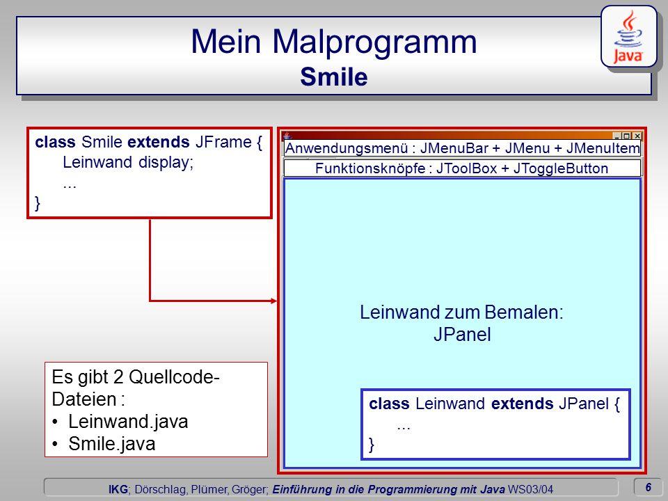 6 Dörschlag IKG; Dörschlag, Plümer, Gröger; Einführung in die Programmierung mit Java WS03/04 Mein Malprogramm Smile Leinwand zum Bemalen: JPanel Funktionsknöpfe : JToolBox + JToggleButton Anwendungsmenü : JMenuBar + JMenu + JMenuItem class Smile extends JFrame { Leinwand display;...