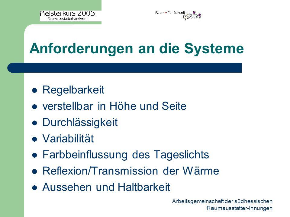 Arbeitsgemeinschaft der südhessischen Raumausstatter-Innungen Anforderungen an die Systeme Regelbarkeit verstellbar in Höhe und Seite Durchlässigkeit