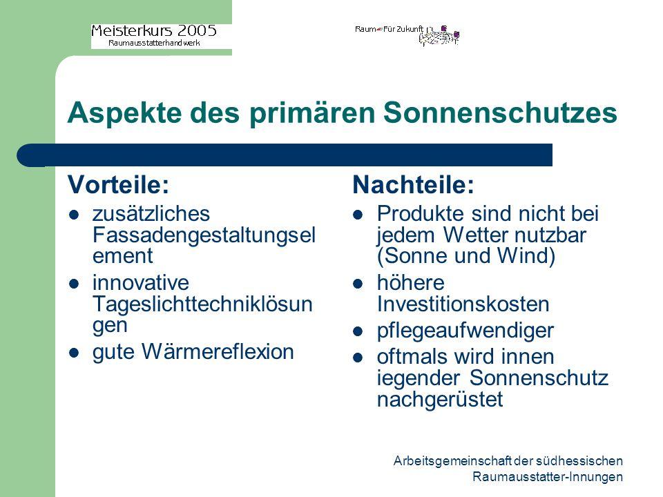 Arbeitsgemeinschaft der südhessischen Raumausstatter-Innungen Aspekte des primären Sonnenschutzes Vorteile: zusätzliches Fassadengestaltungsel ement i