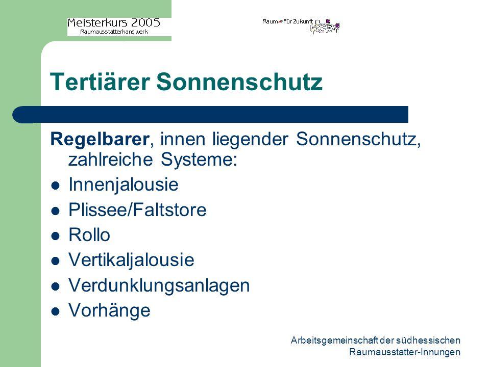 Arbeitsgemeinschaft der südhessischen Raumausstatter-Innungen Tertiärer Sonnenschutz Regelbarer, innen liegender Sonnenschutz, zahlreiche Systeme: Inn