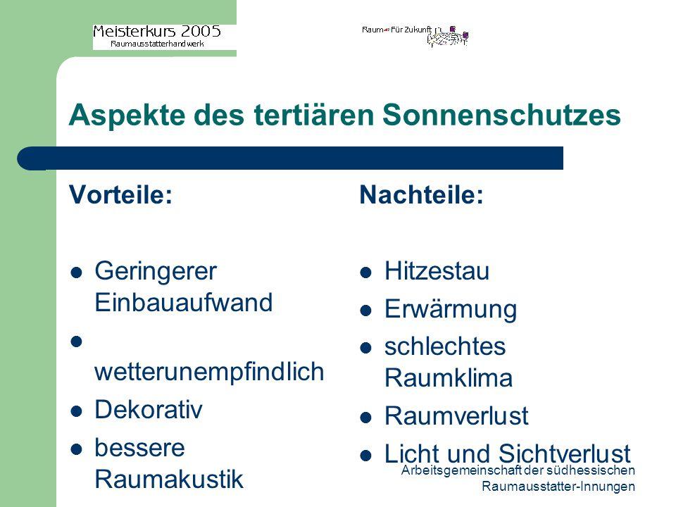 Arbeitsgemeinschaft der südhessischen Raumausstatter-Innungen Aspekte des tertiären Sonnenschutzes Vorteile: Geringerer Einbauaufwand wetterunempfindl