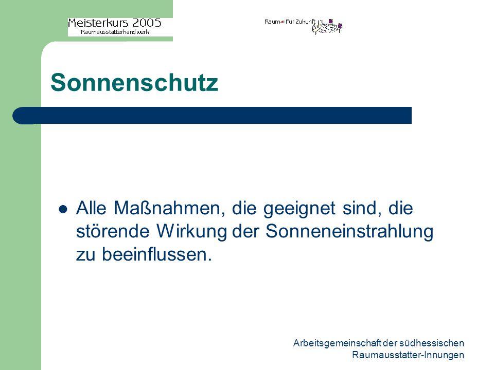Arbeitsgemeinschaft der südhessischen Raumausstatter-Innungen Physikalische Grundbegriffe Lichtausbeute: Beurteilt den Wirkungsgrad einer Lichtquelle.