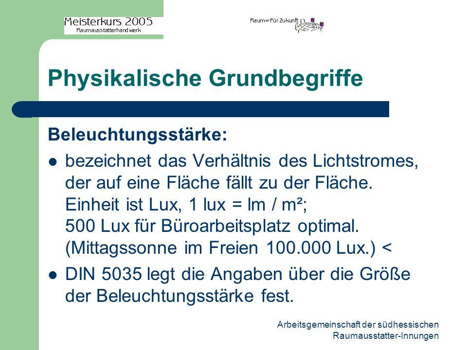 Arbeitsgemeinschaft der südhessischen Raumausstatter-Innungen Physikalische Grundbegriffe Beleuchtungsstärke: bezeichnet das Verhältnis des Lichtstrom