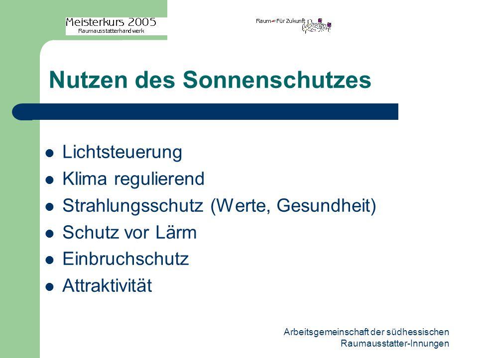 Arbeitsgemeinschaft der südhessischen Raumausstatter-Innungen Nutzen des Sonnenschutzes Lichtsteuerung Klima regulierend Strahlungsschutz (Werte, Gesu