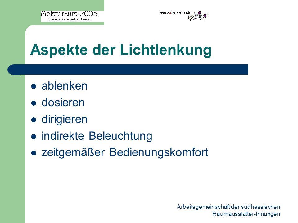 Arbeitsgemeinschaft der südhessischen Raumausstatter-Innungen Aspekte der Lichtlenkung ablenken dosieren dirigieren indirekte Beleuchtung zeitgemäßer Bedienungskomfort