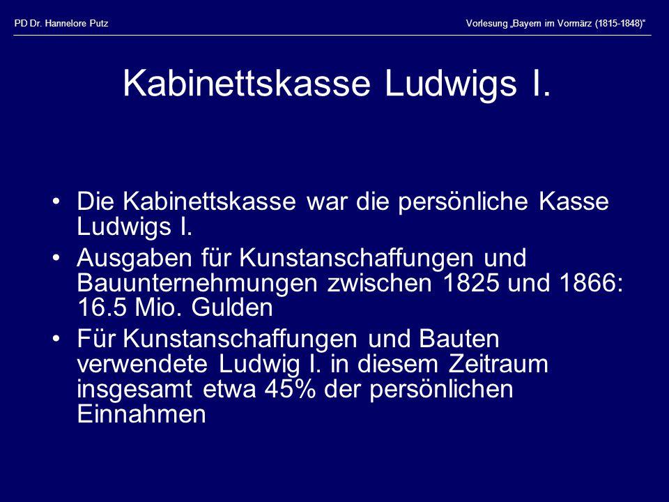 """PD Dr. Hannelore PutzVorlesung """"Bayern im Vormärz (1815-1848) Kabinettskasse Ludwigs I."""