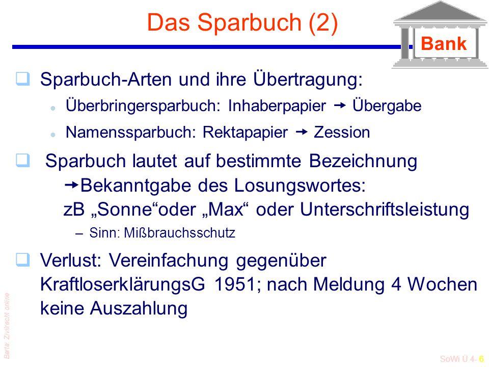 SoWi Ü 4- 6 Barta: Zivilrecht online Das Sparbuch (2) qSparbuch-Arten und ihre Übertragung: l Überbringersparbuch: Inhaberpapier  Übergabe l Namenssp