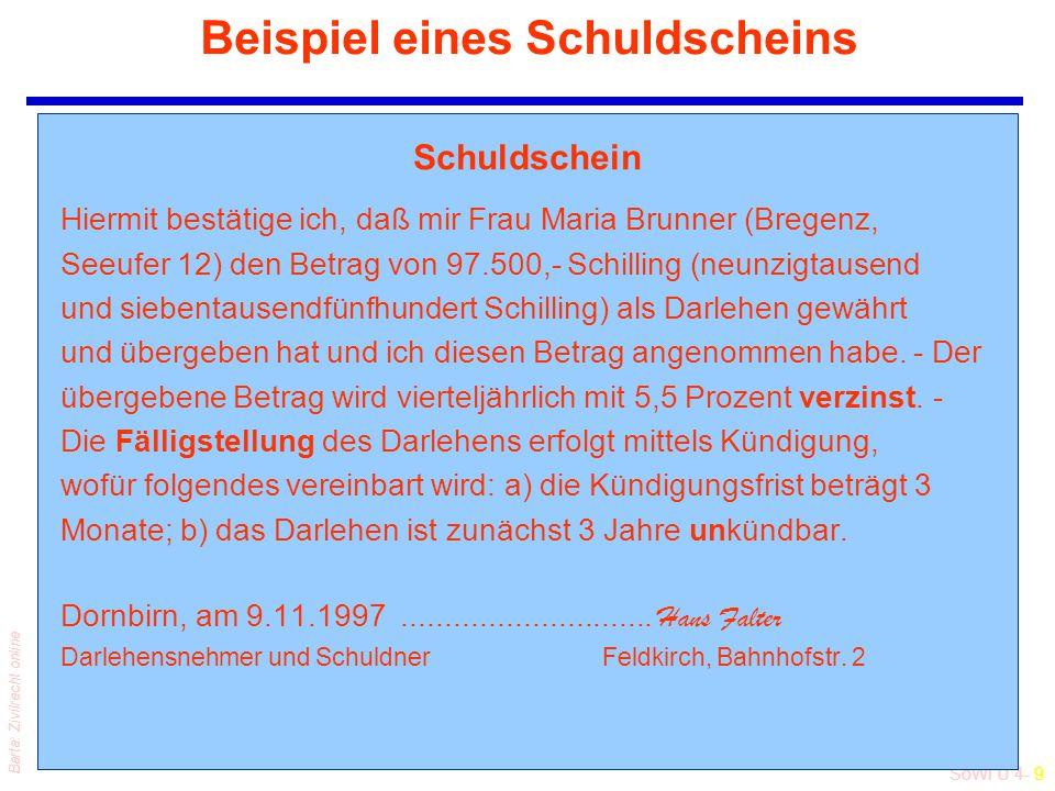 SoWi Ü 4- 9 Barta: Zivilrecht online Beispiel eines Schuldscheins Schuldschein Hiermit bestätige ich, daß mir Frau Maria Brunner (Bregenz, Seeufer 12)