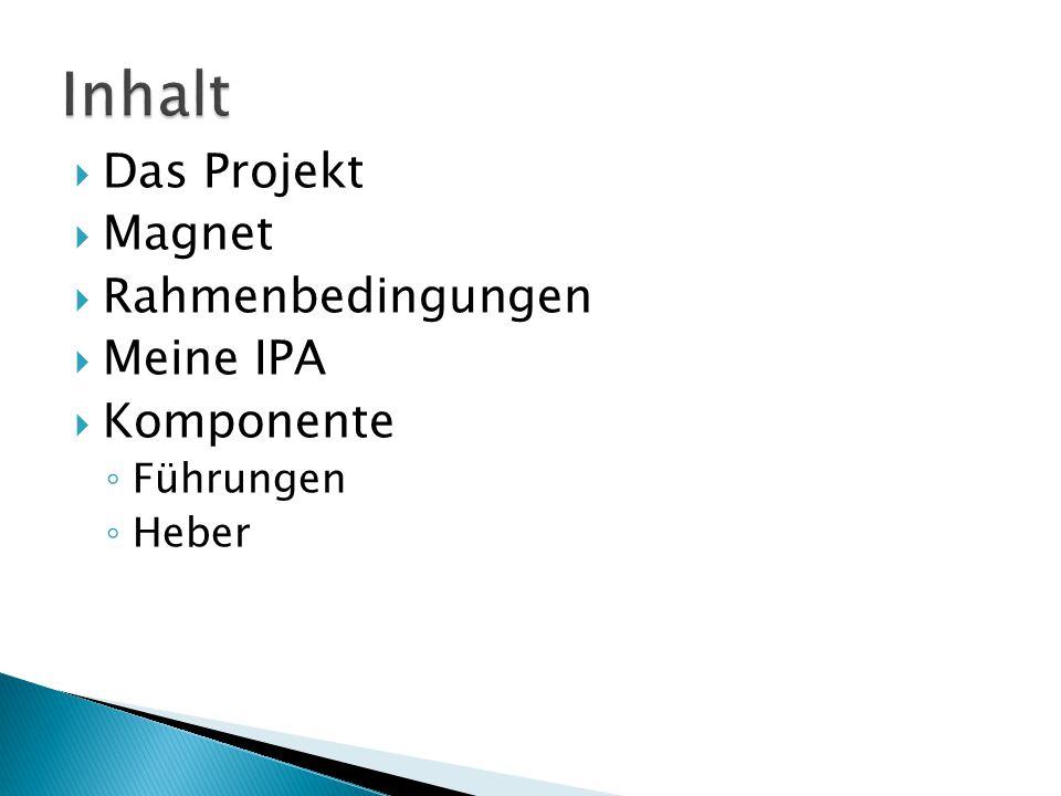  Das Projekt  Magnet  Rahmenbedingungen  Meine IPA  Komponente ◦ Führungen ◦ Heber