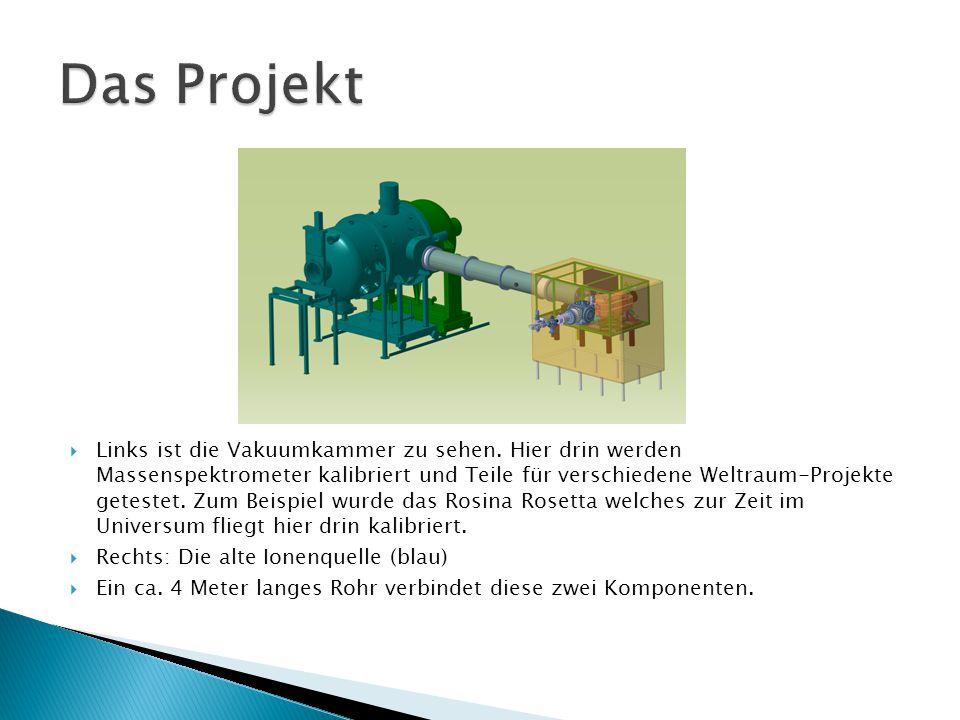  Links ist die Vakuumkammer zu sehen. Hier drin werden Massenspektrometer kalibriert und Teile für verschiedene Weltraum-Projekte getestet. Zum Beisp