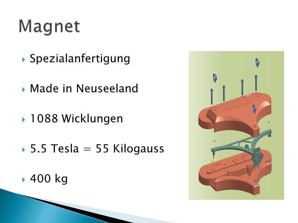  Spezialanfertigung  Made in Neuseeland  1088 Wicklungen  5.5 Tesla = 55 Kilogauss  400 kg