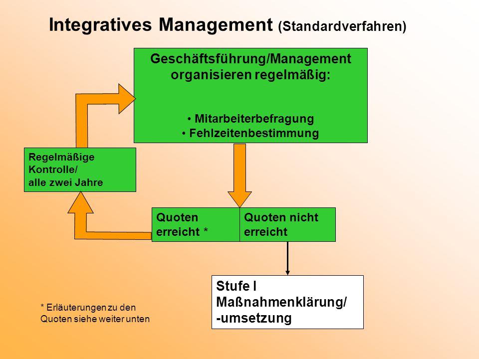 Integratives Management Stufe I Maßnahmenklärung und -umsetzung (Top-Down-Ansatz) Vorstellung und Besprechung von Analyseergebnissen mit den betrieblichen Akteuren Maßnahmen- und Vorgehenssondierung Umsetzung als Folge unmittelbarer Führungskräfteentscheidung und im Rahmen gegebener Organisationsstrukturen und - abläufe möglich.