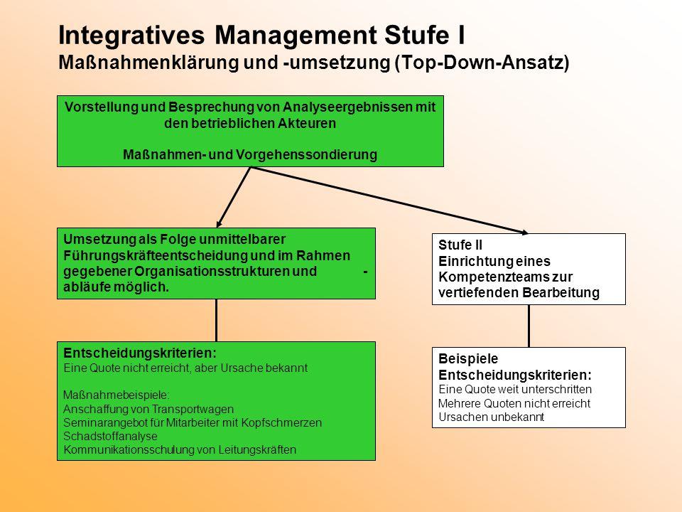 Integratives Management Stufe I Maßnahmenklärung und -umsetzung (Top-Down-Ansatz) Vorstellung und Besprechung von Analyseergebnissen mit den betriebli