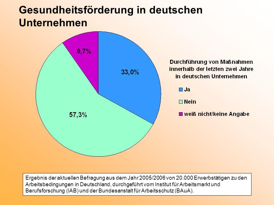 Gesundheitsförderung in deutschen Unternehmen Ergebnis der aktuellen Befragung aus dem Jahr 2005/2006 von 20.000 Erwerbstätigen zu den Arbeitsbedingun