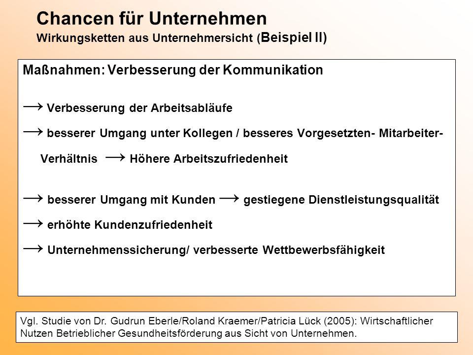 Chancen für Unternehmen Wirkungsketten aus Unternehmersicht ( Beispiel II) Maßnahmen: Verbesserung der Kommunikation → Verbesserung der Arbeitsabläufe