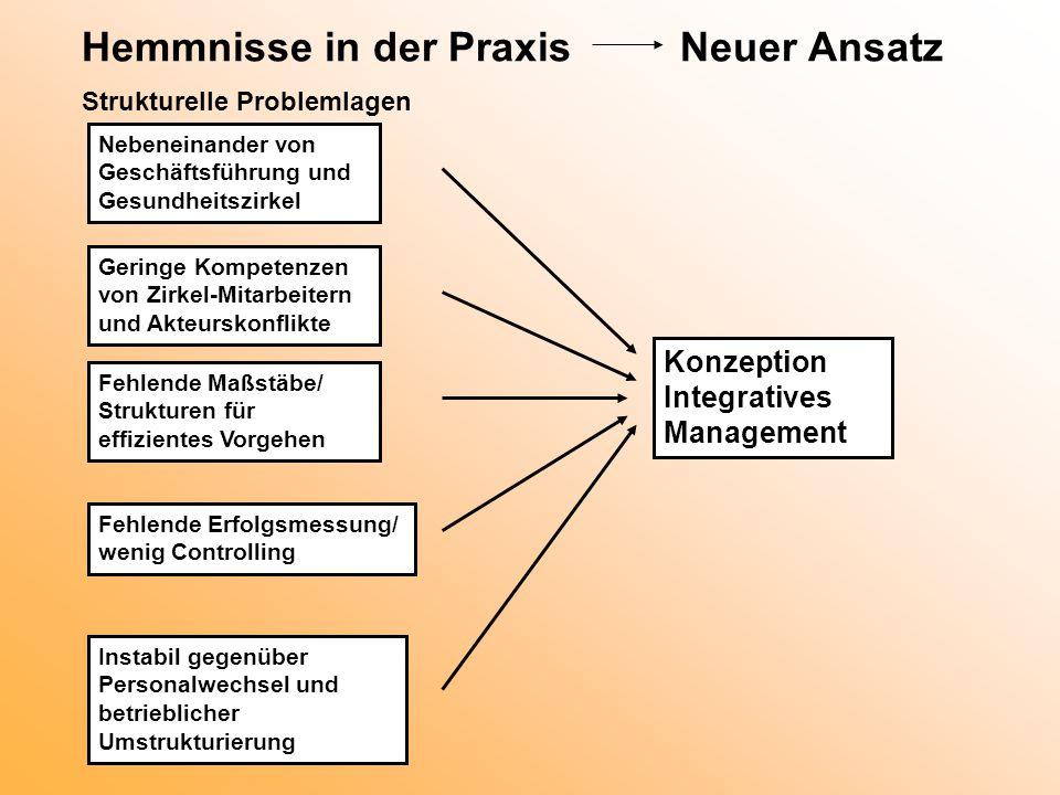 Hemmnisse in der Praxis Neuer Ansatz Strukturelle Problemlagen Nebeneinander von Geschäftsführung und Gesundheitszirkel Geringe Kompetenzen von Zirkel