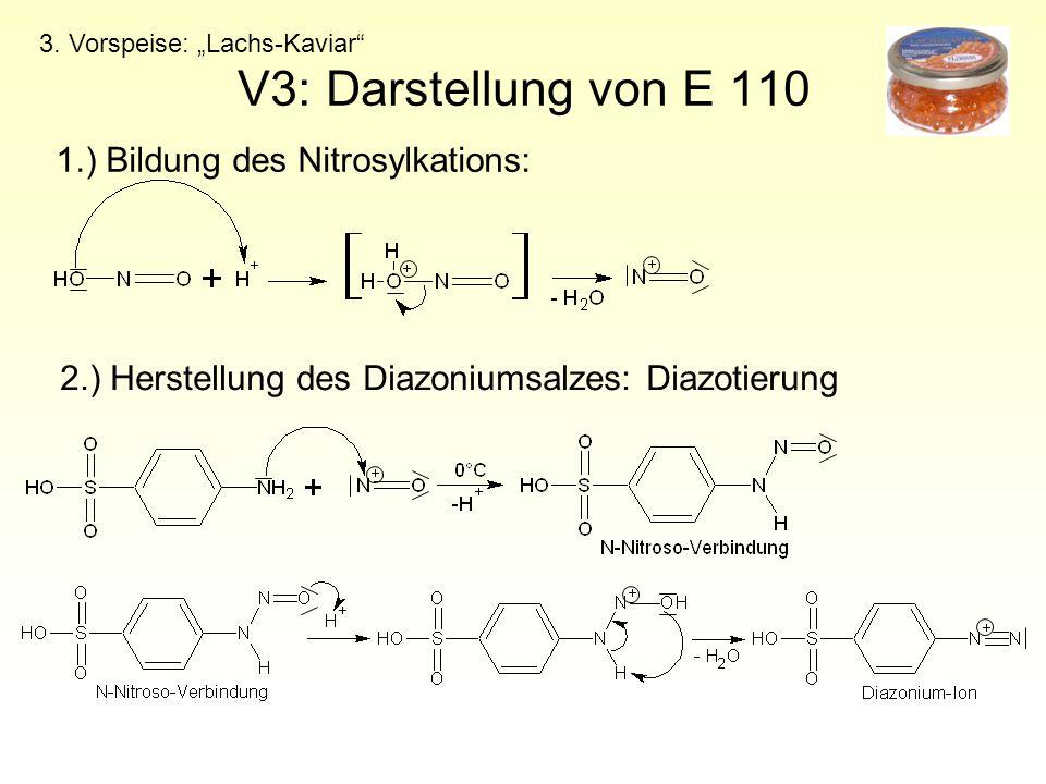 """V3: Darstellung von E 110 3. Vorspeise: """"Lachs-Kaviar"""" 2.) Herstellung des Diazoniumsalzes: Diazotierung 1.) Bildung des Nitrosylkations:"""