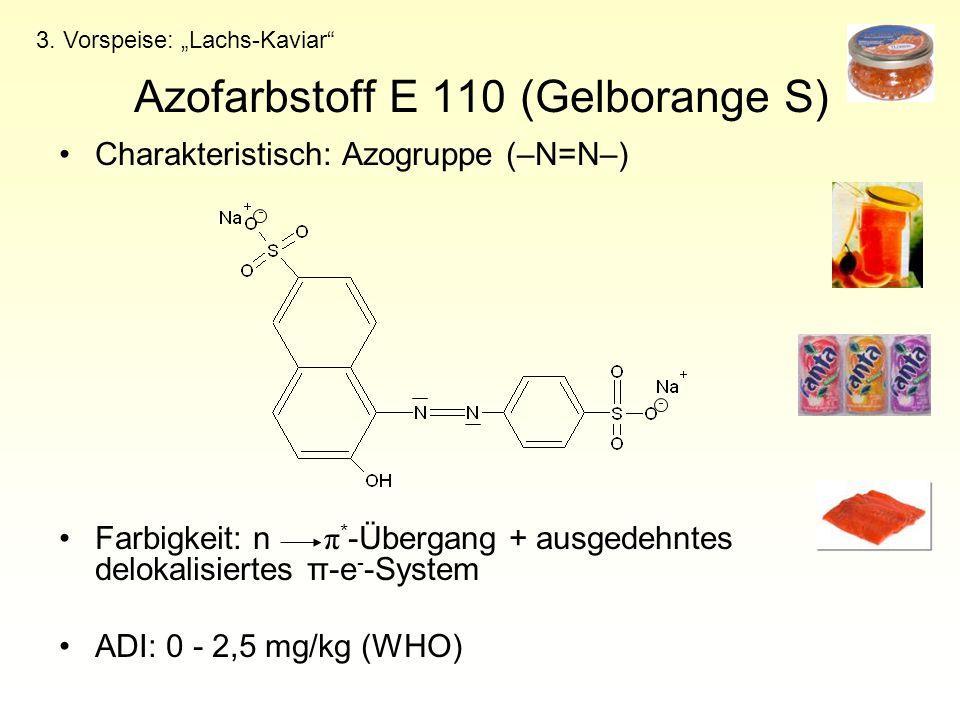 Azofarbstoff E 110 (Gelborange S) Charakteristisch: Azogruppe (–N=N–) Farbigkeit: n π * -Übergang + ausgedehntes delokalisiertes π-e - -System ADI: 0