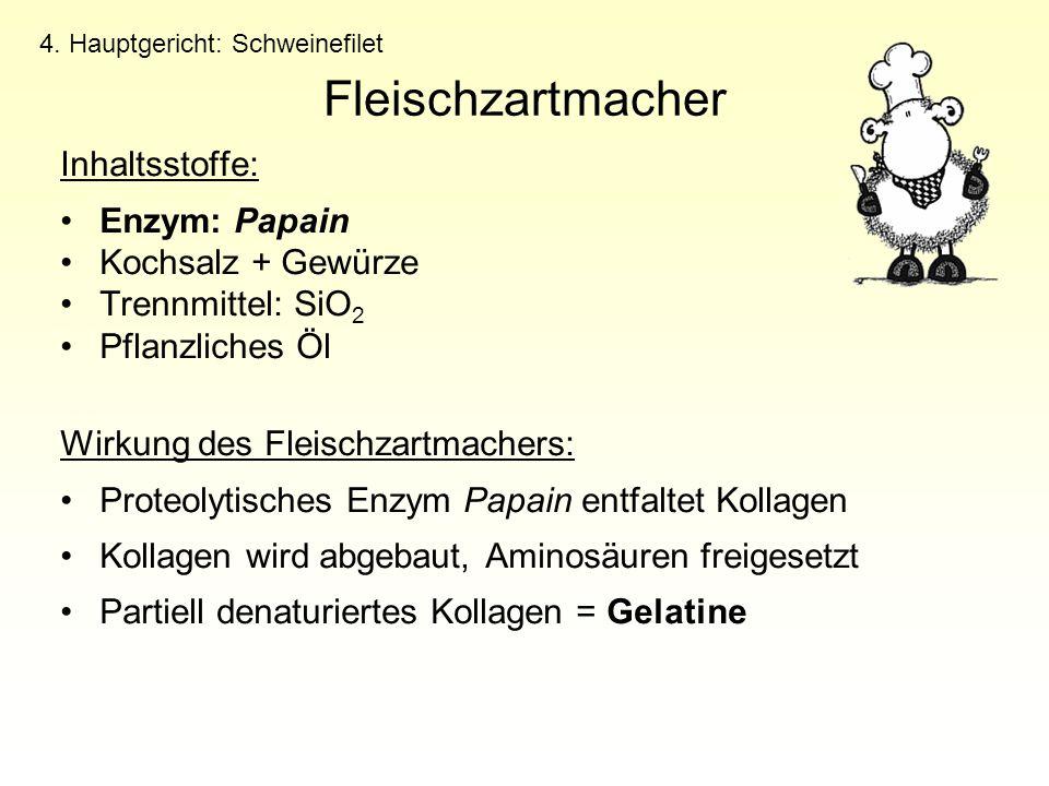 Fleischzartmacher Inhaltsstoffe: Enzym: Papain Kochsalz + Gewürze Trennmittel: SiO 2 Pflanzliches Öl Wirkung des Fleischzartmachers: Proteolytisches E