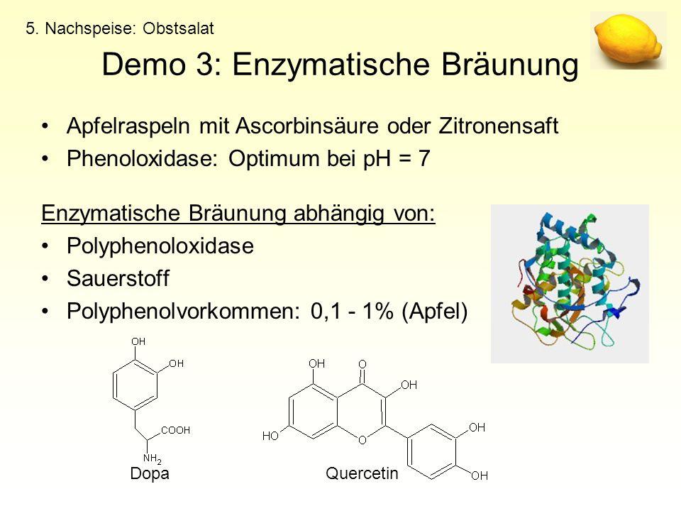 Demo 3: Enzymatische Bräunung Apfelraspeln mit Ascorbinsäure oder Zitronensaft Phenoloxidase: Optimum bei pH = 7 Enzymatische Bräunung abhängig von: P