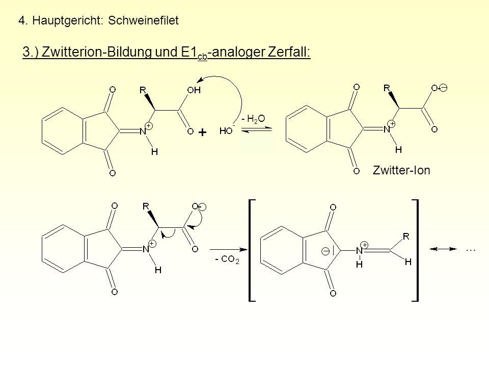 4. Hauptgericht: Schweinefilet 3.) Zwitterion-Bildung und E1 cb -analoger Zerfall: Zwitter-Ion - H 2 O...