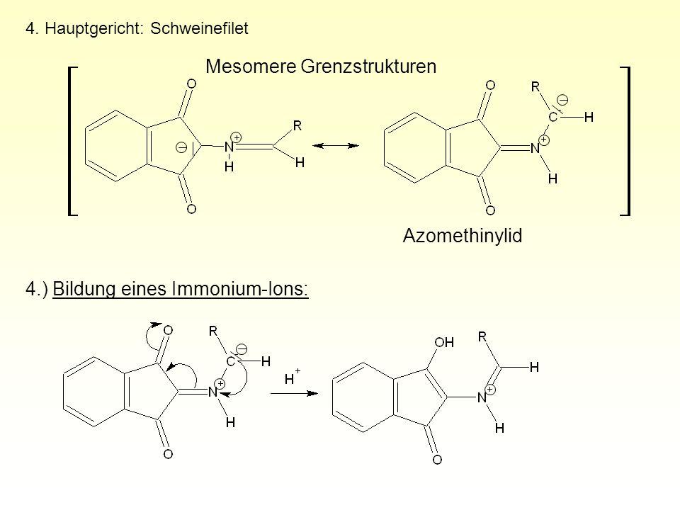 4. Hauptgericht: Schweinefilet 4.) Bildung eines Immonium-Ions: Mesomere Grenzstrukturen Azomethinylid