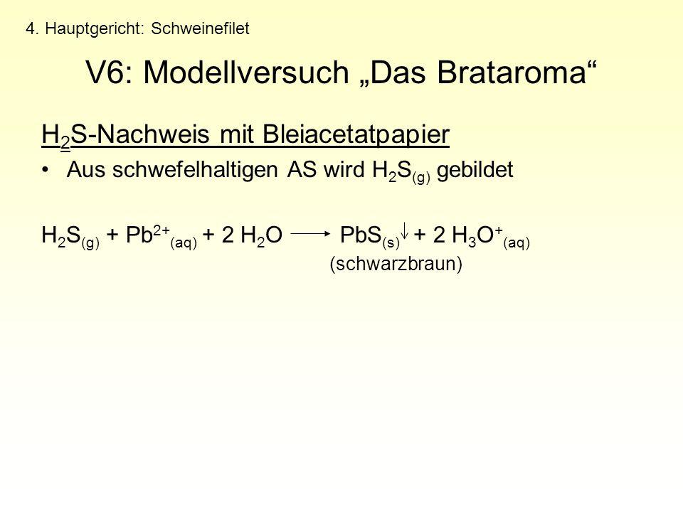 """V6: Modellversuch """"Das Brataroma"""" H 2 S-Nachweis mit Bleiacetatpapier Aus schwefelhaltigen AS wird H 2 S (g) gebildet H 2 S (g) + Pb 2+ (aq) + 2 H 2 O"""