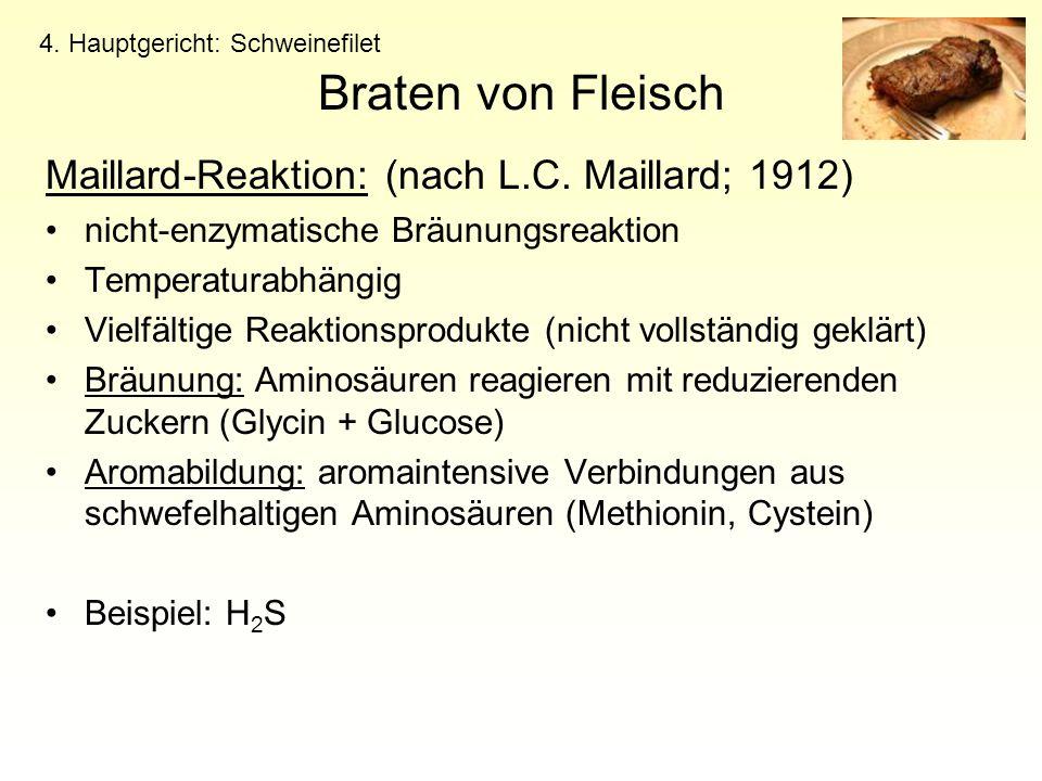 Braten von Fleisch Maillard-Reaktion: (nach L.C. Maillard; 1912) nicht-enzymatische Bräunungsreaktion Temperaturabhängig Vielfältige Reaktionsprodukte
