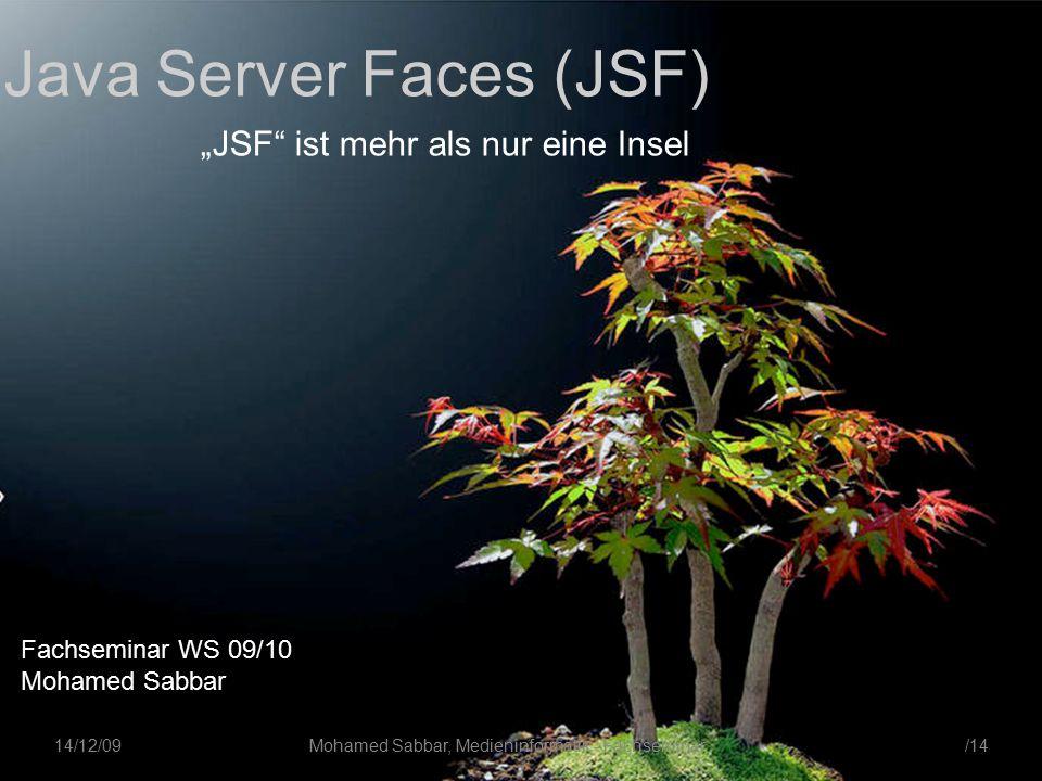 """/14Mohamed Sabbar, Medieninformatik - Fachseminar 14/12/09 Java Server Faces (JSF) """"JSF ist mehr als nur eine Insel Fachseminar WS 09/10 Mohamed Sabbar"""