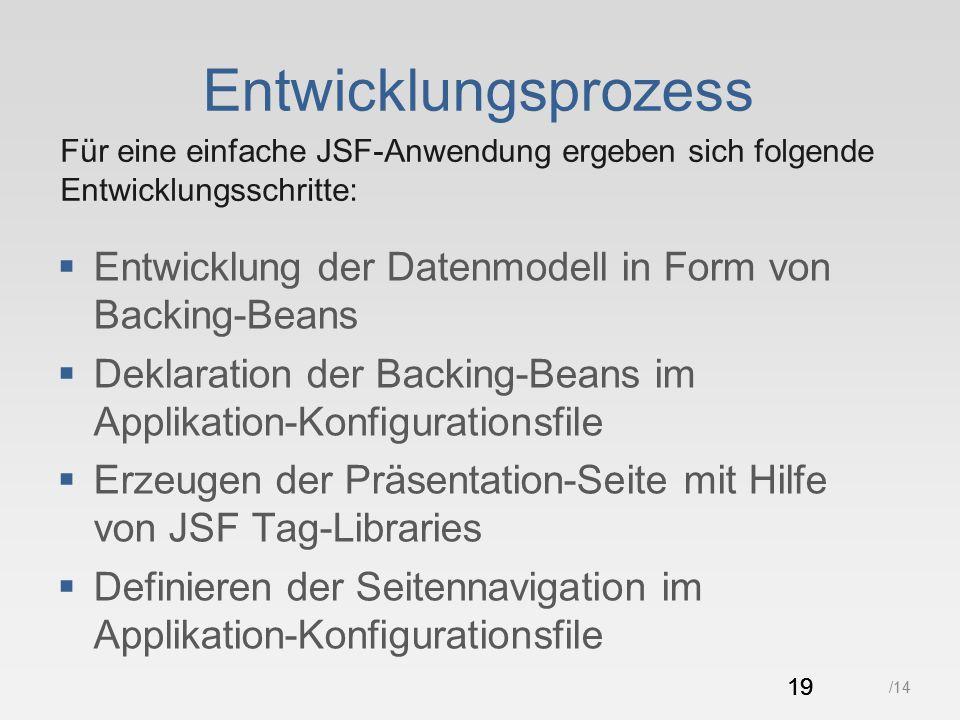 19 /14 Entwicklungsprozess  Entwicklung der Datenmodell in Form von Backing-Beans  Deklaration der Backing-Beans im Applikation-Konfigurationsfile  Erzeugen der Präsentation-Seite mit Hilfe von JSF Tag-Libraries  Definieren der Seitennavigation im Applikation-Konfigurationsfile 19 Für eine einfache JSF-Anwendung ergeben sich folgende Entwicklungsschritte: