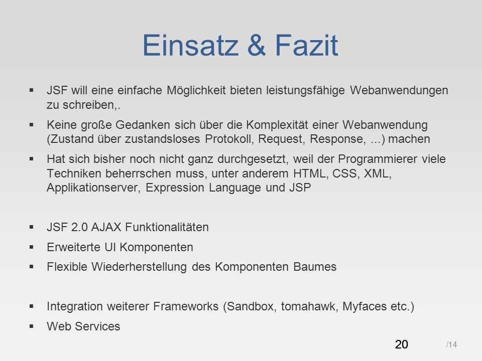 20 /14 Einsatz & Fazit  JSF will eine einfache Möglichkeit bieten leistungsfähige Webanwendungen zu schreiben,.