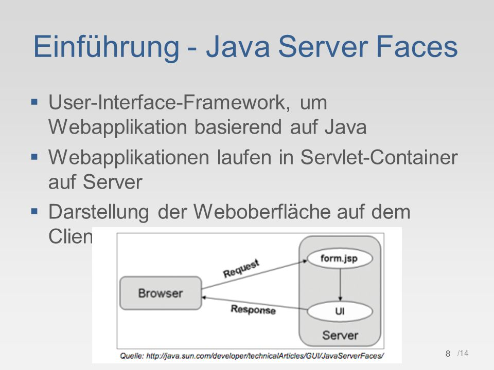8 /14 Einführung - Java Server Faces  User-Interface-Framework, um Webapplikation basierend auf Java  Webapplikationen laufen in Servlet-Container a