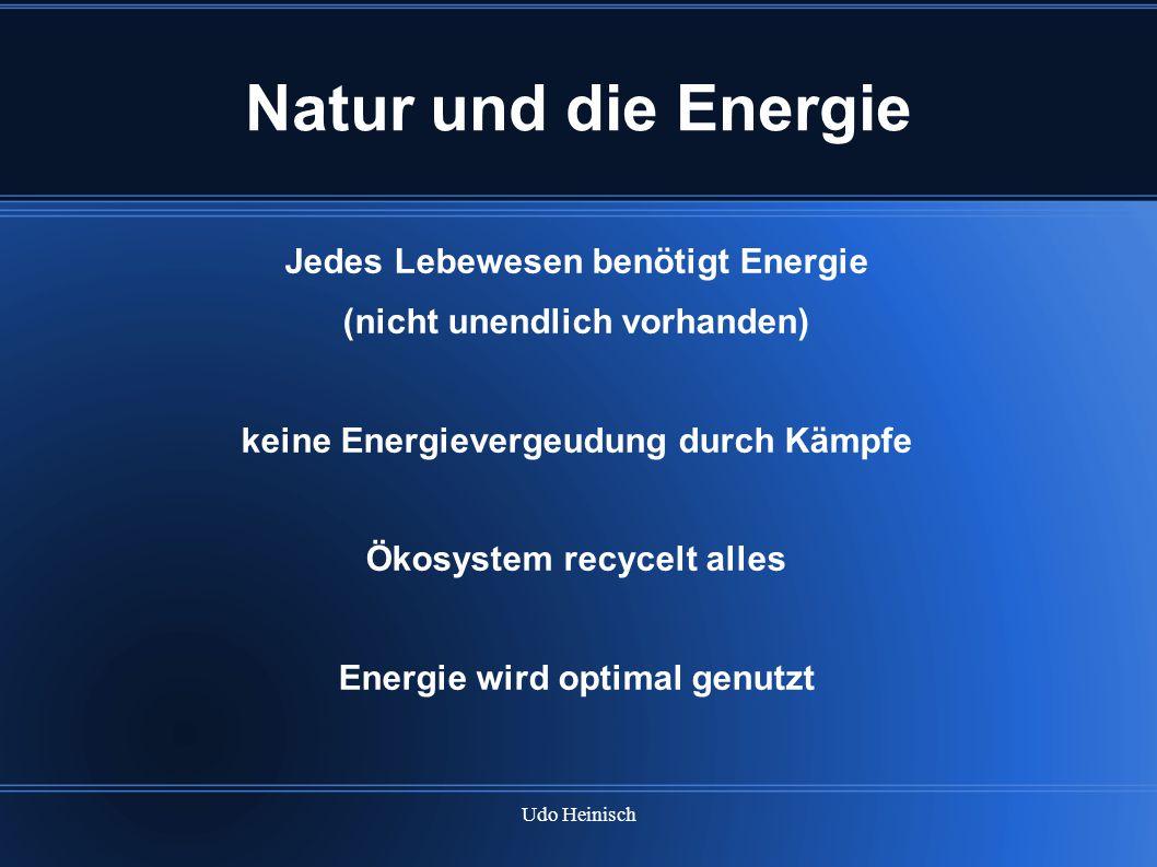 Udo Heinisch Natur und die Energie Jedes Lebewesen benötigt Energie (nicht unendlich vorhanden) keine Energievergeudung durch Kämpfe Ökosystem recycel