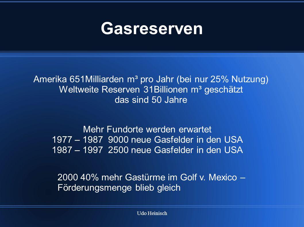 Udo Heinisch Gasreserven Amerika 651Milliarden m³ pro Jahr (bei nur 25% Nutzung) Weltweite Reserven 31Billionen m³ geschätzt das sind 50 Jahre Mehr Fu