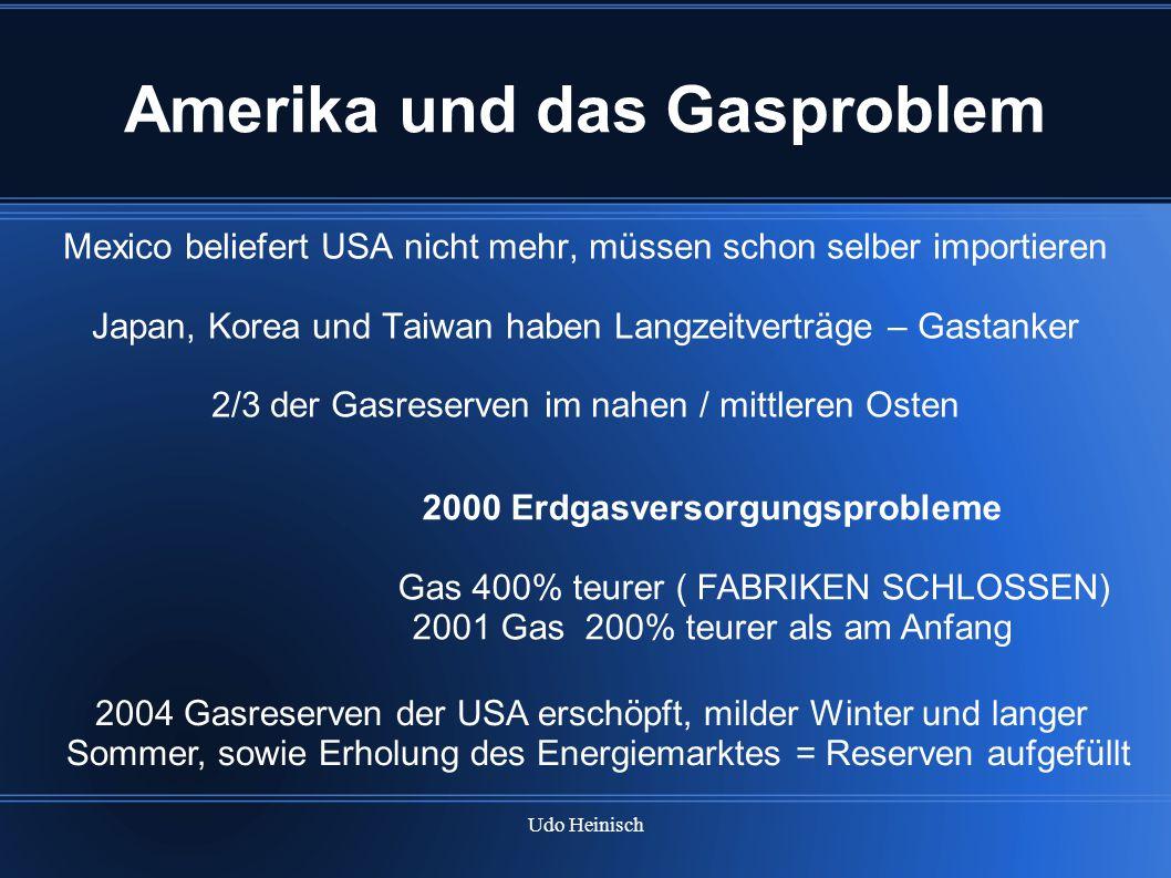 Udo Heinisch Amerika und das Gasproblem Mexico beliefert USA nicht mehr, müssen schon selber importieren Japan, Korea und Taiwan haben Langzeitverträg