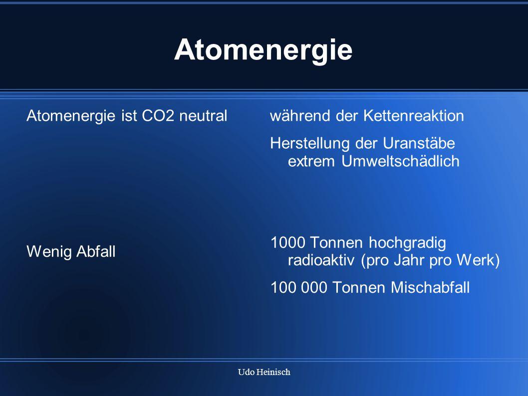 Udo Heinisch Atomenergie Atomenergie ist CO2 neutral Wenig Abfall während der Kettenreaktion Herstellung der Uranstäbe extrem Umweltschädlich 1000 Ton