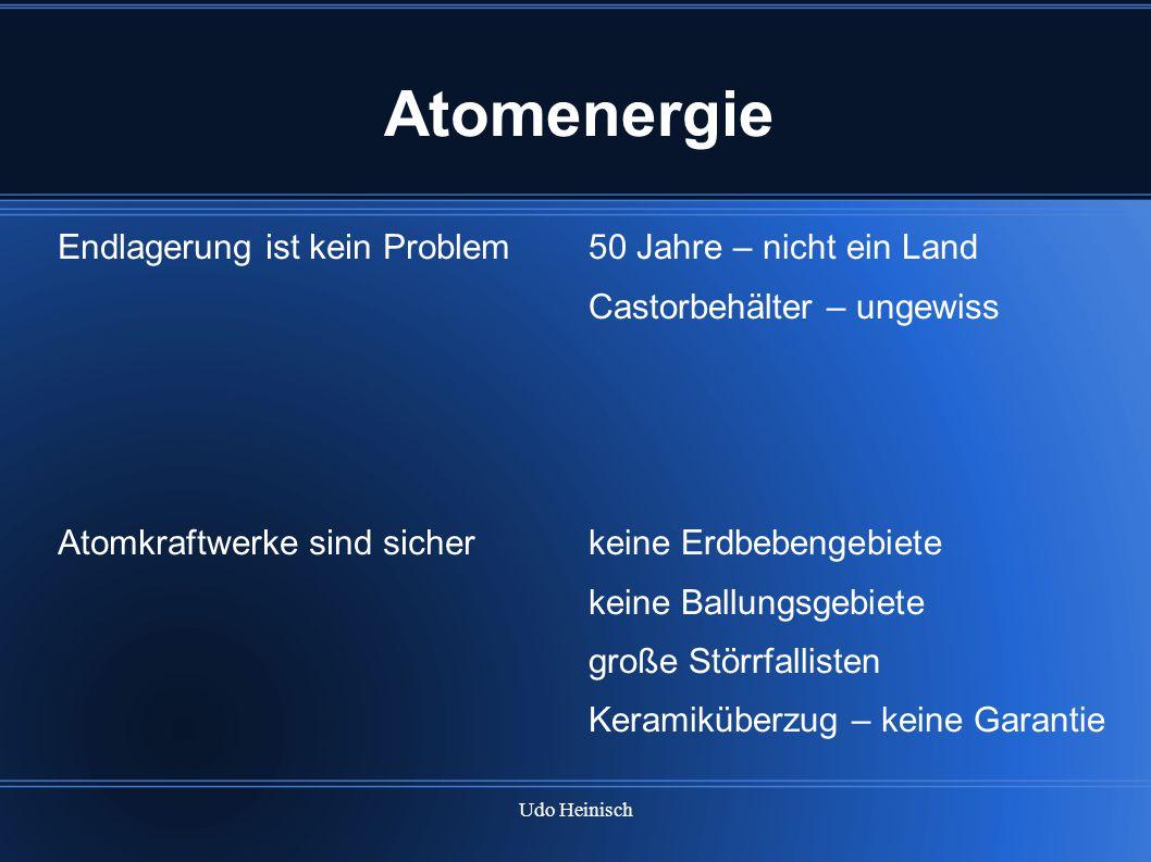 Udo Heinisch Atomenergie Endlagerung ist kein Problem Atomkraftwerke sind sicher 50 Jahre – nicht ein Land Castorbehälter – ungewiss keine Erdbebengeb
