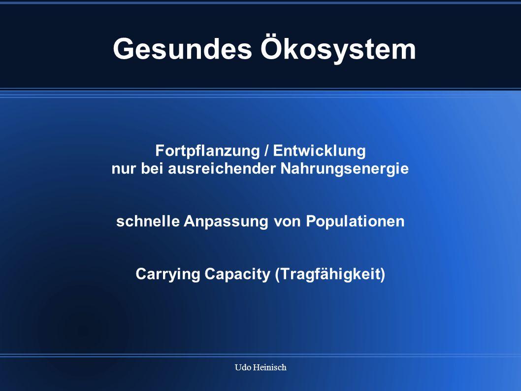 Udo Heinisch Gesundes Ökosystem Fortpflanzung / Entwicklung nur bei ausreichender Nahrungsenergie schnelle Anpassung von Populationen Carrying Capacit