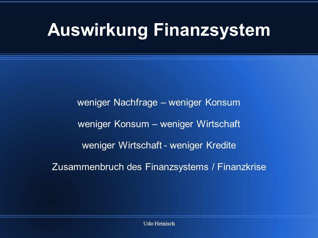 Udo Heinisch Auswirkung Finanzsystem weniger Nachfrage – weniger Konsum weniger Konsum – weniger Wirtschaft weniger Wirtschaft - weniger Kredite Zusam