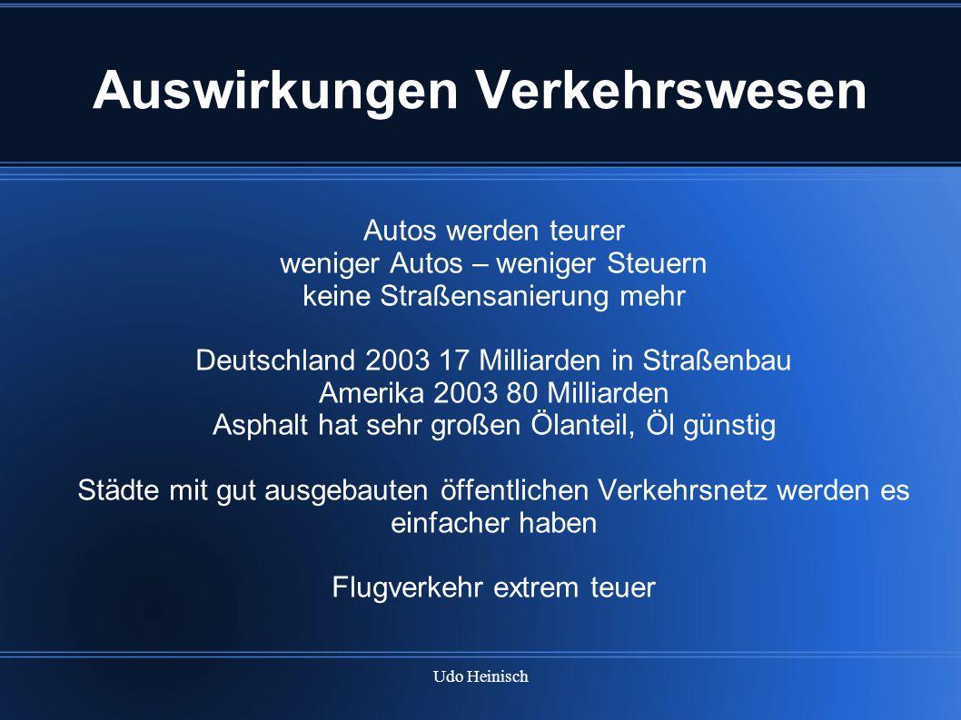 Udo Heinisch Auswirkungen Verkehrswesen Autos werden teurer weniger Autos – weniger Steuern keine Straßensanierung mehr Deutschland 2003 17 Milliarden