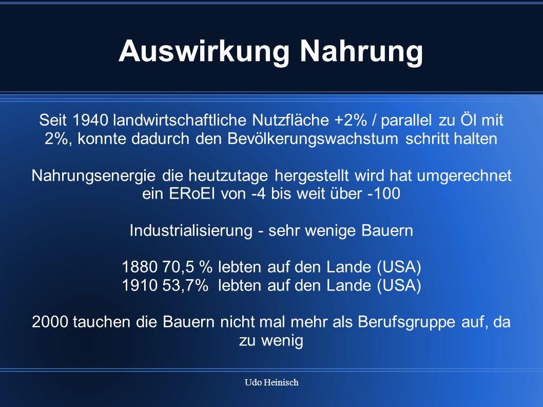 Udo Heinisch Auswirkung Nahrung Seit 1940 landwirtschaftliche Nutzfläche +2% / parallel zu Öl mit 2%, konnte dadurch den Bevölkerungswachstum schritt