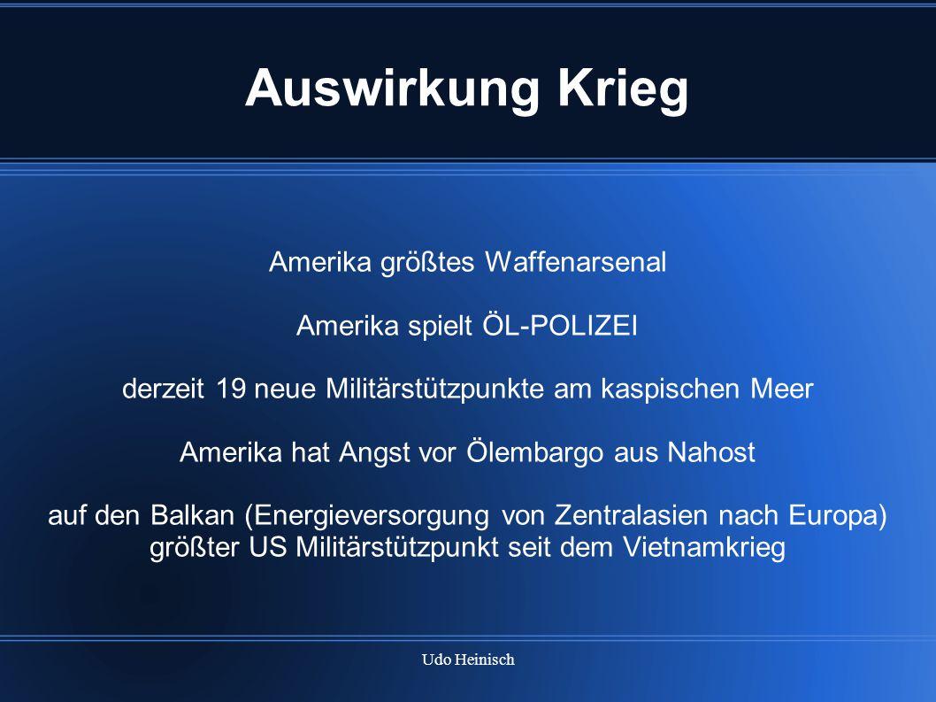 Udo Heinisch Auswirkung Krieg Amerika größtes Waffenarsenal Amerika spielt ÖL-POLIZEI derzeit 19 neue Militärstützpunkte am kaspischen Meer Amerika ha
