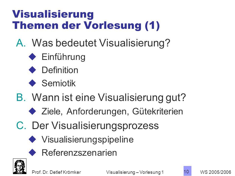 Prof. Dr. Detlef Krömker WS 2005/2006 10 Visualisierung – Vorlesung 1 Visualisierung Themen der Vorlesung (1) A.Was bedeutet Visualisierung?  Einführ