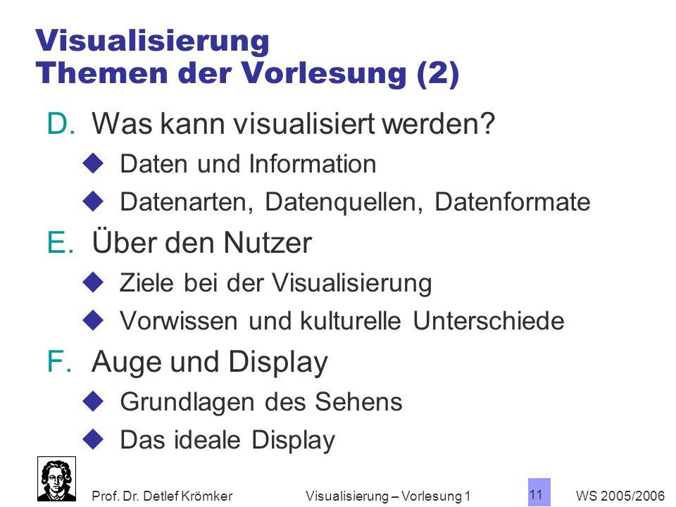 Prof. Dr. Detlef Krömker WS 2005/2006 11 Visualisierung – Vorlesung 1 Visualisierung Themen der Vorlesung (2) D.Was kann visualisiert werden?  Daten