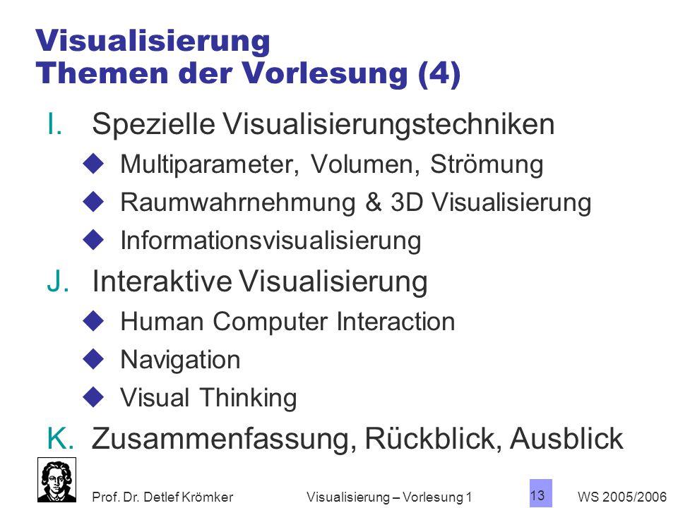 Prof. Dr. Detlef Krömker WS 2005/2006 13 Visualisierung – Vorlesung 1 Visualisierung Themen der Vorlesung (4) I.Spezielle Visualisierungstechniken  M