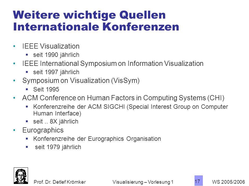 Prof. Dr. Detlef Krömker WS 2005/2006 17 Visualisierung – Vorlesung 1 Weitere wichtige Quellen Internationale Konferenzen IEEE Visualization  seit 19